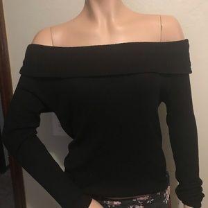 Knit off the shoulder black sweater